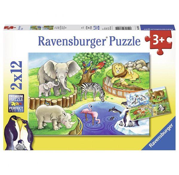 RAVENSBURGER 07602 - Puzzle - Tiere im Zoo, 2x12 Teile