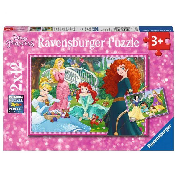 RAVENSBURGER 07620 - Puzzle - In der Welt der Disney Prinzessinnen, 2x12 Teile