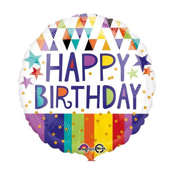 AMSCAN 3455501 - Folienballon - Happy Birthday mit goldenen Punkten, 43cm