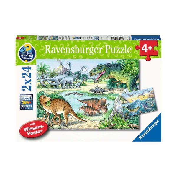 RAVENSBURGER 05128 - Puzzle - Saurier und ihre Lebensräume, 2x24 Teile