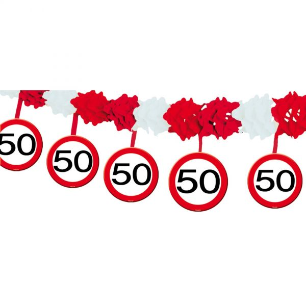 FOLAT 05233 - Geburtstag & Party - 50 Jahre Verkehrsschild Girlande, 4 m