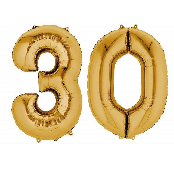 AMSCAN 33813 - Folienballon - Zahl 30, gold, 90cm