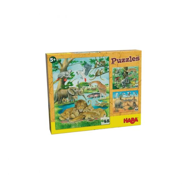 HABA 303348 - Puzzle - Wilde Tiere in Afrika
