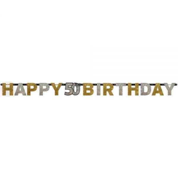 AMSCAN 120206 - Sparkling Celebrations Gold, 50. Geburtstag - Partykette, 213x16,2 cm