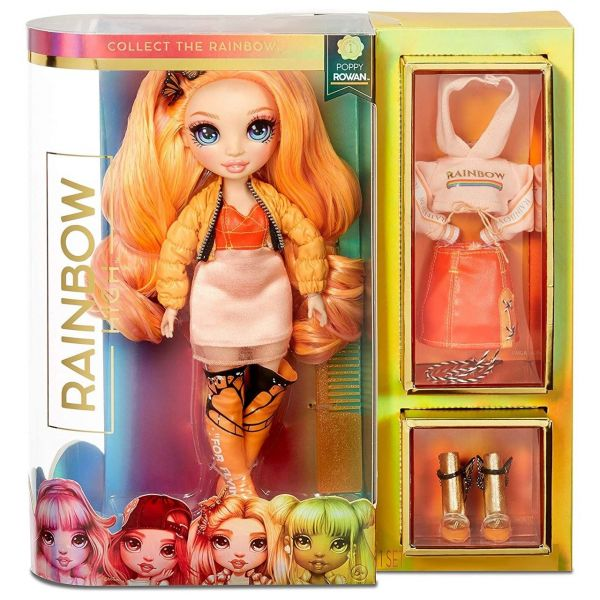 MGA 569640E7C - RAINBOW HIGH - Poppy Rowan – Orange Mode-Puppe mit 2 Outfits