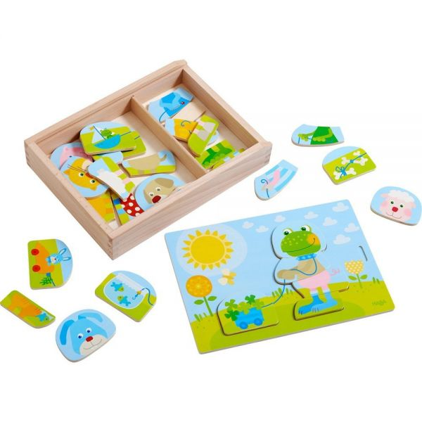 HABA 303186 - Holzpuzzle - Lustiger Tiermix