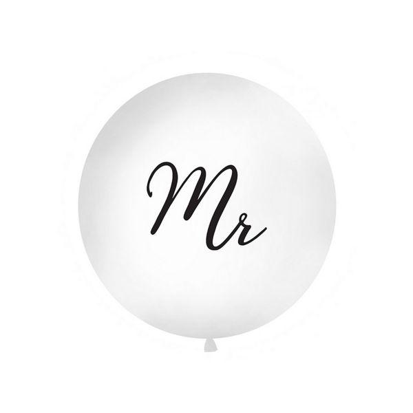 PD OLBON12D-008 - Riesen Ballon 1m, Mister Mr, weiß