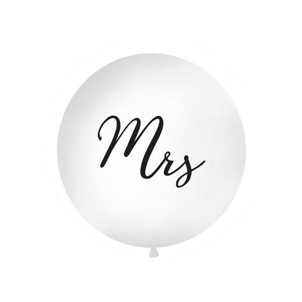 PD OLBON11D-008 - XXL Latex Ballon - Mrs, weiß, dunkle Schrift, 1m, 1St