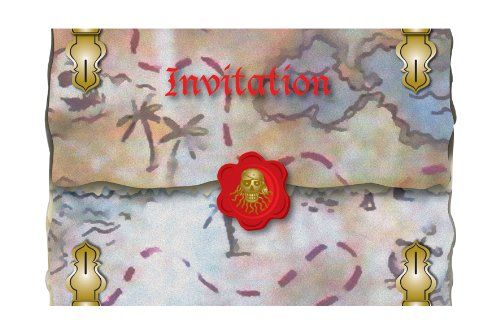 FOLAT 07648 - Geburtstag & Party - Piraten Einladungskarten, rot, 8 Stk. , 15 cm