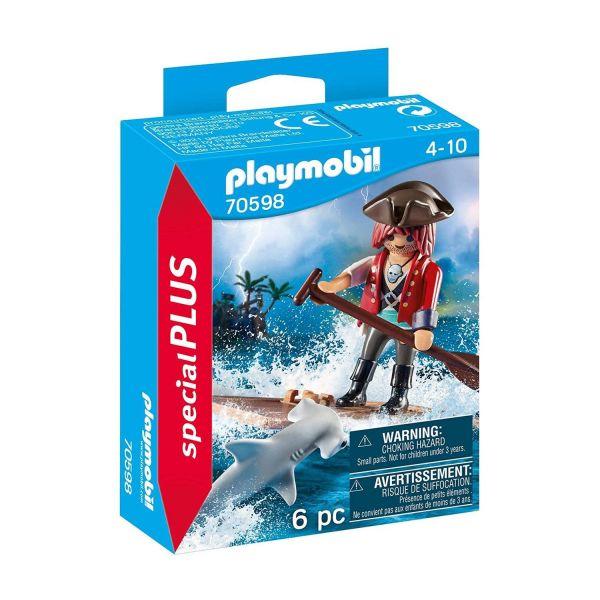 PLAYMOBIL 70598 - Special Plus - Pirat mit Floß und Hammerhai