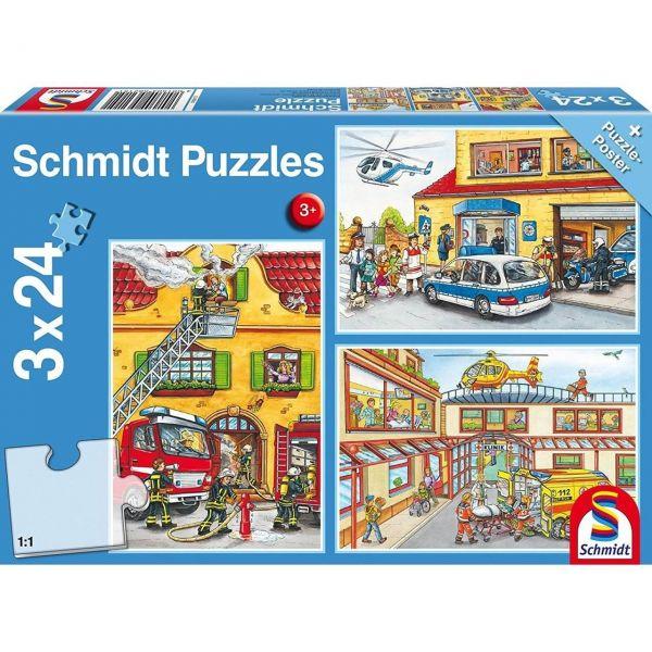 SCHMIDT 56215 - Puzzle - Feuerwehr und Polizei 3 x 24 Teile