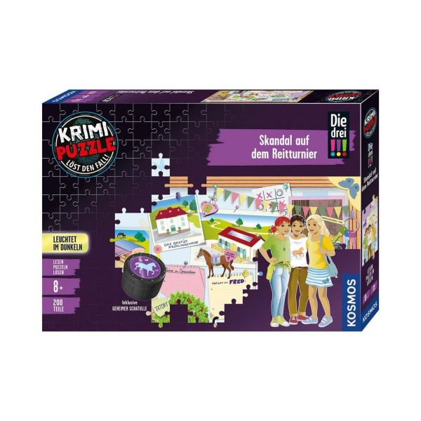 KOSMOS 680725 - Krimi-Puzzle - Die drei !!! - Skandal auf dem Reitturnier, 200 Teile