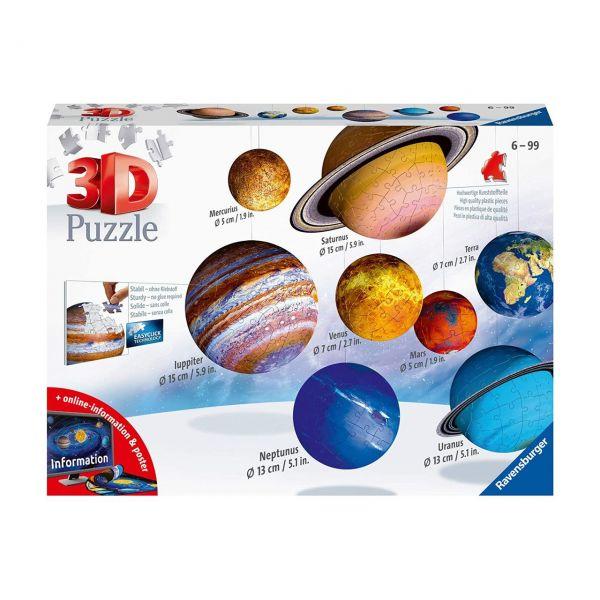 RAVENSBURGER 11668 - Puzzle - 3D Puzzle Planetensystem, 522 Teile