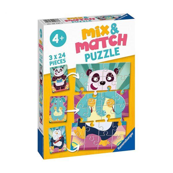 RAVENSBURGER 05137 - Mix & Match Puzzle - Witzige Tiere, 3x24