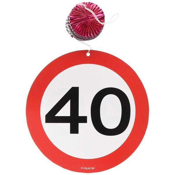 FOLAT 05131 - Geburtstag & Party - 40 Jahre Verkehrsschild Rotorspirale, 3er Set