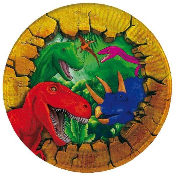 FOLAT 61850 - Geburtstag & Party - Dino Teller, 6 Stk., 18 cm