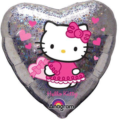 ANAGRAM 17292 - Folienballon - Hello Kitty, Herz Holografik, 45cm
