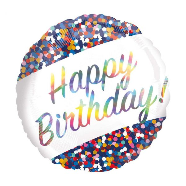 AMSCAN 4128401 - Folienballon - Happy Birthday Konfetti, 43cm
