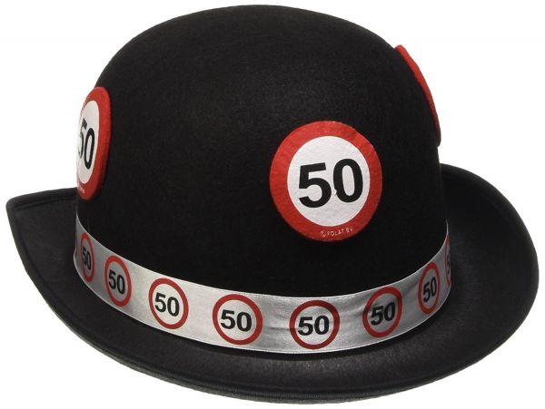 "FOLAT 62350 - Geburtstag & Party - Filz-Hut ""Verkehrsschild 50. Geburtstag"""