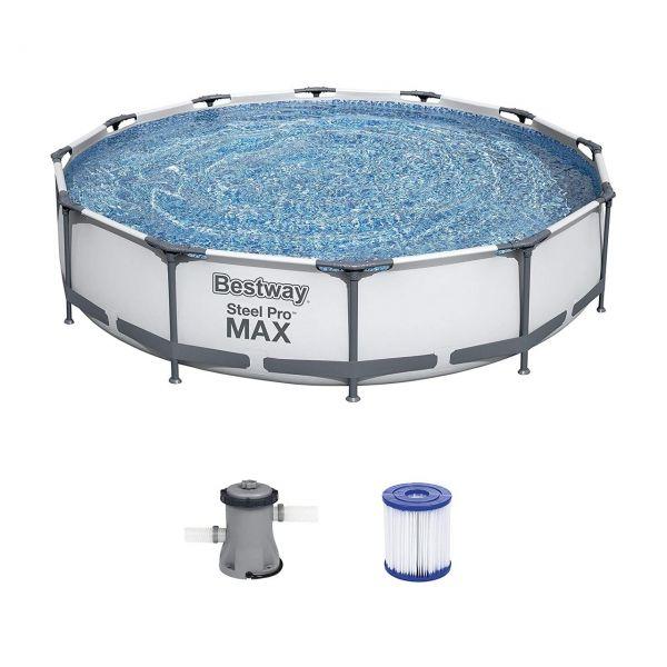 BESTWAY 56416 - Steel Pro MAX™ - Frame Pool, 366x76cm, Set mit Filterpumpe, rund