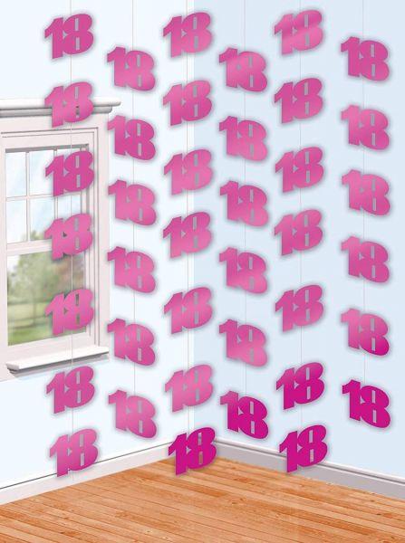 AMSCAN 992249 - Geburtstag & Party - Deckenhänger 18. Geburtstag, pink, 2,1m