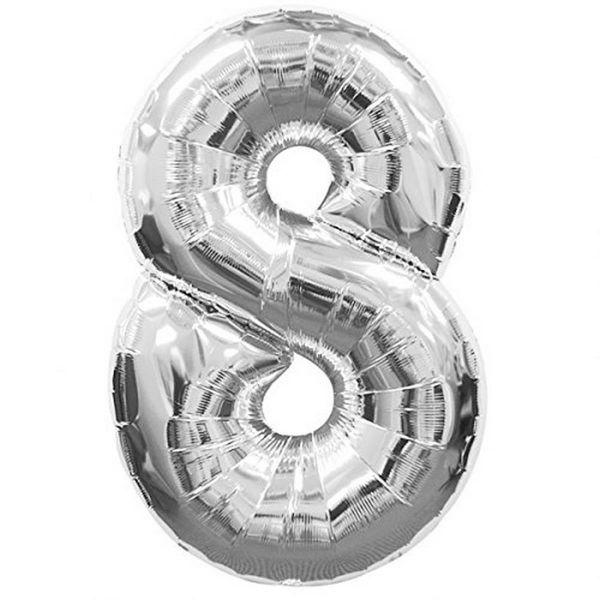 AMSCAN 2798801 - Folienballon - Zahl 8, Silber, 90cm