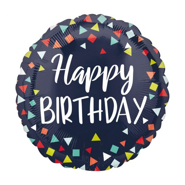 AMSCAN 4067701 - Folienballon - Happy Birthday, Dunkelblau, 43cm