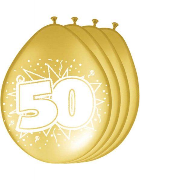 FOLAT 08255 - Latexballon - 50. Geburtstag, gold, 30cm, 8 Stück