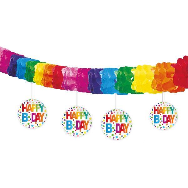 FOLAT 65118 - Geburtstag & Party - Girlande Regenbogen Punkte, 4 m