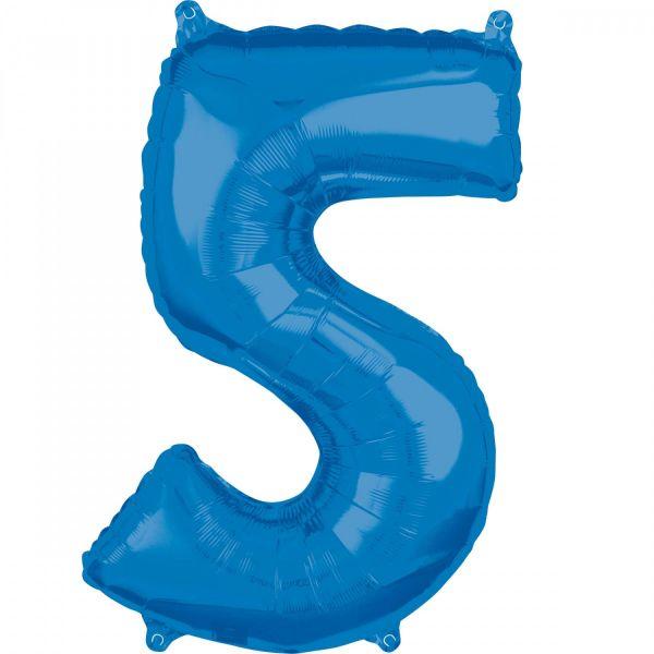 AMSCAN 36630 - Folienballon - Zahl 5, blau, 66 cm
