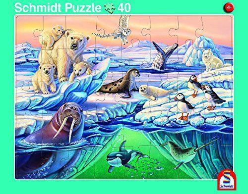 SCHMIDT 56788 - Rahmenpuzzle - Tiere in Afrika und Nordpol, 2er Set