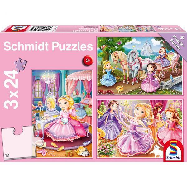 SCHMIDT 56217 - Puzzle - Märchenhafte Prinzessin, 3 x 24 Teile