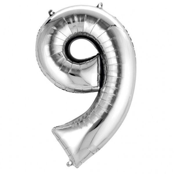 AMSCAN 2798901 - Folienballon - Zahl 9, silber, 90cm