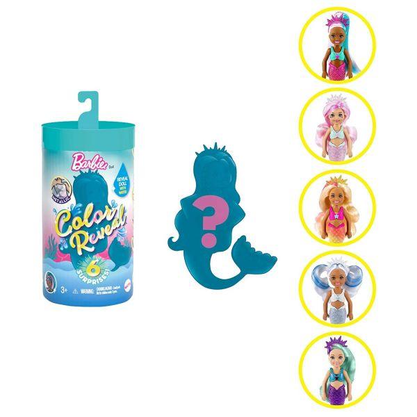 MATTEL GTP53 - Barbie Color Reveal - Chelsea Meerjungfrau mit 6 Teilen