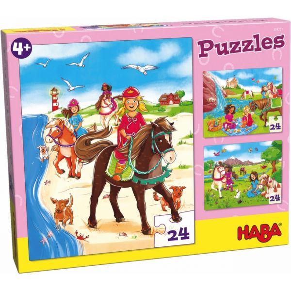 HABA 304221 - Puzzle - Pferdefreundinnen, 24 Teile