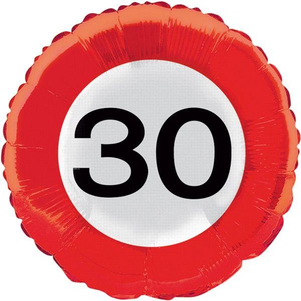 FOLAT 28530 - Geburtstag & Party - 30 Jahre Verkehrsschild Folienballon, 45 cm