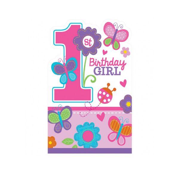 AMSCAN 491422 - Geburtstag & Party - 8 Einladungskarten 1st Birthday girl