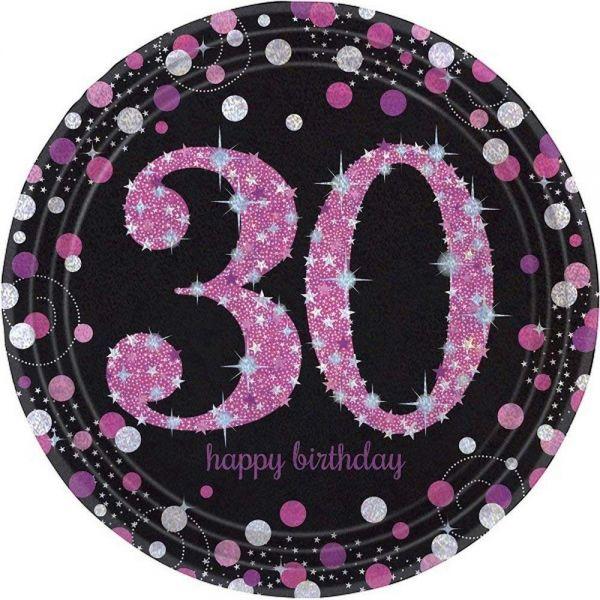 AMSCAN 9900596 - Sparkling Celebrations Pink, 30. Geburtstag - Papp-Teller 23 cm, 8 Stk.