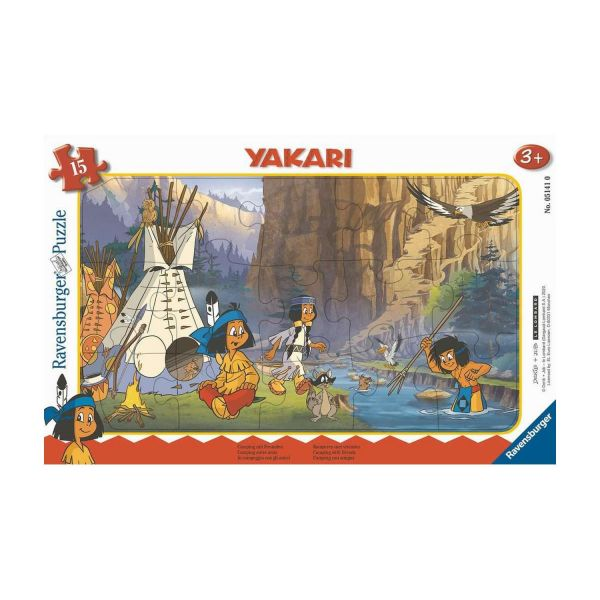 RAVENSBURGER 05141 - Rahmenpuzzle - Yakari - Camping mit Freunden, 15 Teile