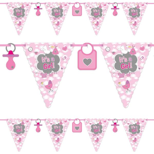 FOLAT 63653 - Geburtstag & Party - Wimpelkette - It's a Girl - 6 m