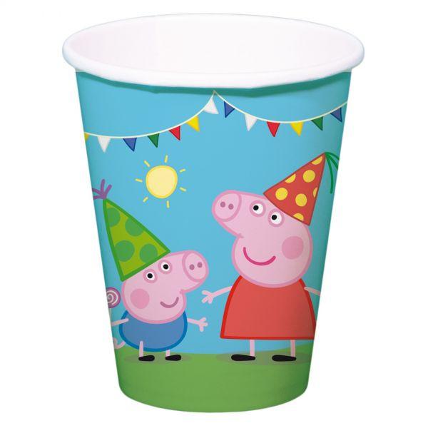FOLAT 24501 - Geburtstag & Party - Peppa Wutz Papp-Becher, 8 Stk., 250 ml