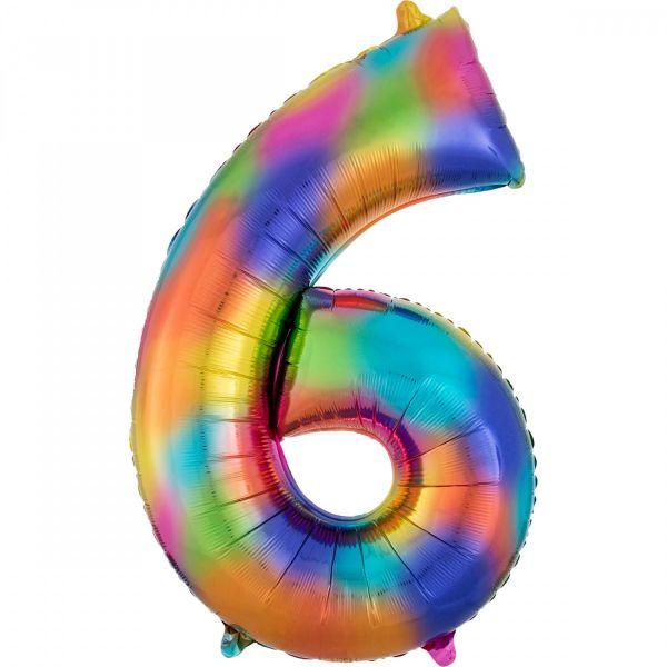 AMSCAN 3853601 - Folienballon SuperShape - Zahl 6, Rainbow Splash, 55 x 86 cm