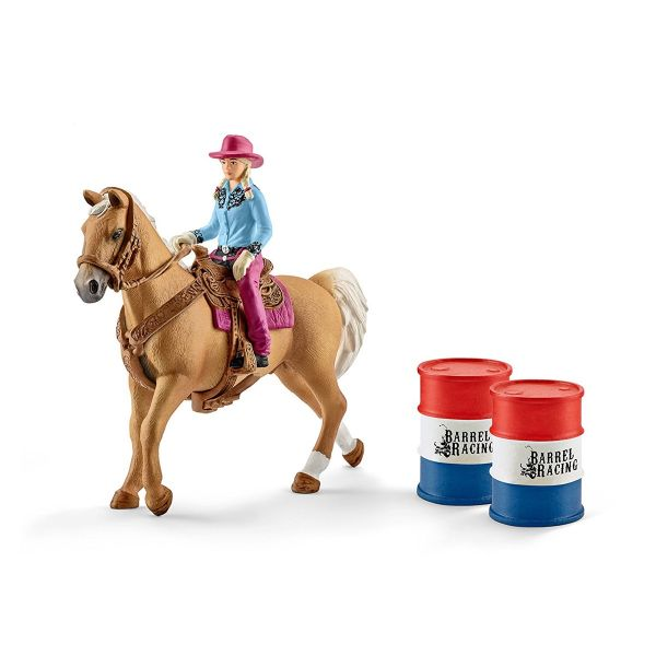 SCHLEICH 41417 - Farm World - Barrel racing mit Cowgirl - Spielzeug