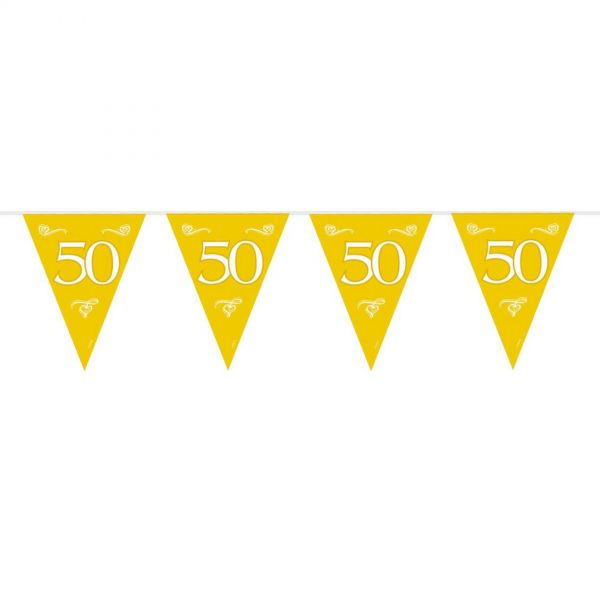 FOLAT 07452 - Geburtstag & Party - Wimpelkette 50, gold, 10m