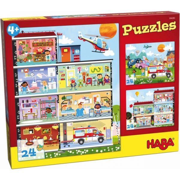 HABA 304283 - Puzzle - Kleines Krankenhaus, 24 Teile