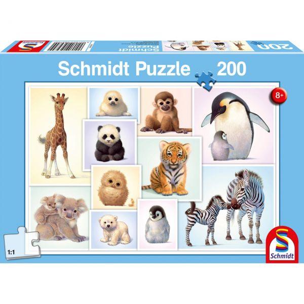SCHMIDT 56270 - Puzzle - Tierkinder der Wildnis, 200 Teile