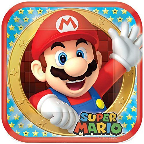 AMSCAN 9901535 - Geburtstag & Party - Pappteller Super Mario 8 Stk, 23 cm