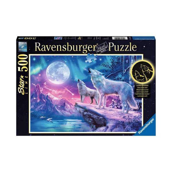 RAVENSBURGER 14952 - Puzzle - Leuchtender Wolf im Nordlicht, 500 Teile