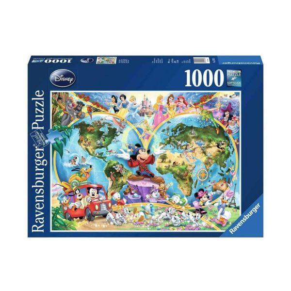 RAVENSBURGER 15785 - Puzzle - Disney's Weltkarte, 1000 Teile