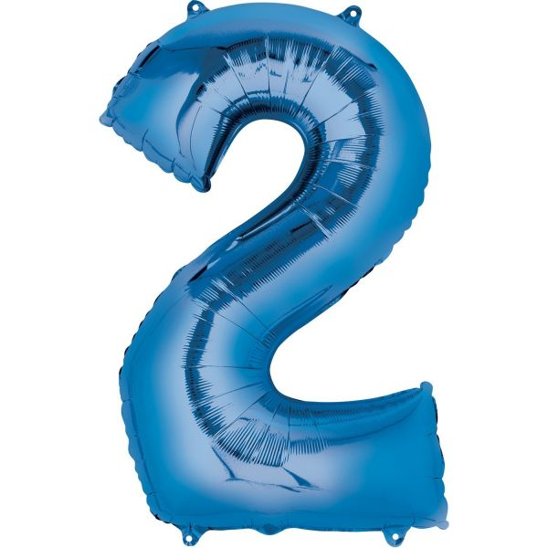 AMSCAN 28276 - Folienballon - Zahl 2, blau, 83 cm